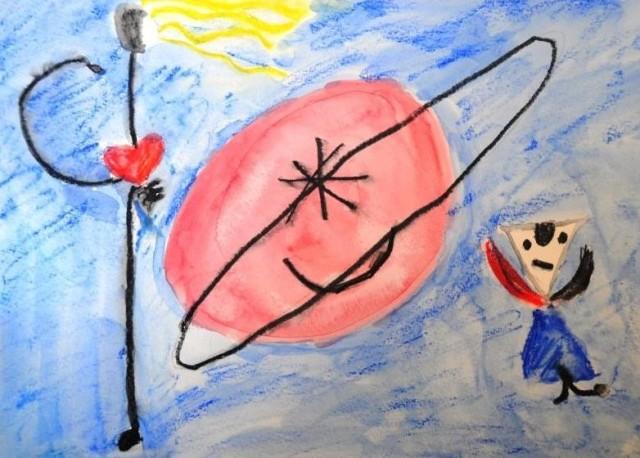 Composition d'après Mirò par Emma, 10 ans