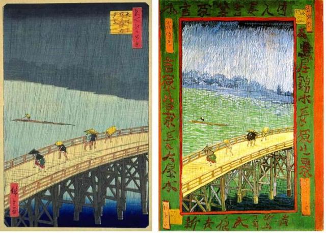 Ando Hiroshige, Le pont Ōhashi et Atake sous une averse soudaine, 1857, estampe, Brooklin MuseumNew York  Vincent Van Gogh, Japonaiserie : pont sous la pluie, 1887, peinture à l'huile, Van Gogh Museum, Amsterdam