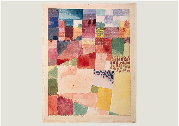 Paul Klee, Motif de Hammamet, 1914, 48, aquarelle et crayon sur papier sur carton, 20,3 x 15,7 cm, Kunstmuseum Basel, Kupferstichkabinett, Legat Richard Doetsch-Benziger