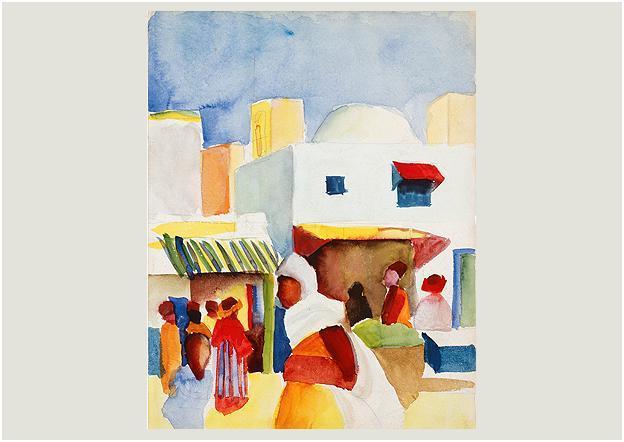 August Macke, Marché à Tunis I, 1914, Aquarelle sur papier collé sur carton, 29 x 22,5 cm, Privatsammlung, courtesy Thole Rotermund Kunsthandel, Hamburg © LWL-MKuK/Rudolf Wakonigg