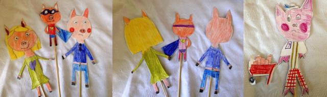 Marionnettes trois petits cochons par Natalia et Lily-Lucy