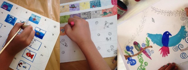 Petites mains au travail, stage jeux et histoires