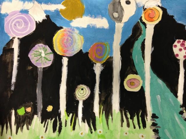 Arbres à la Hundertwasser, par Emmeline