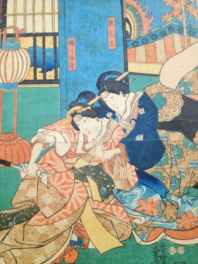 Un suicide empêché, Kunisada (Toyokuni III), 1847-1848, coll. personnelle