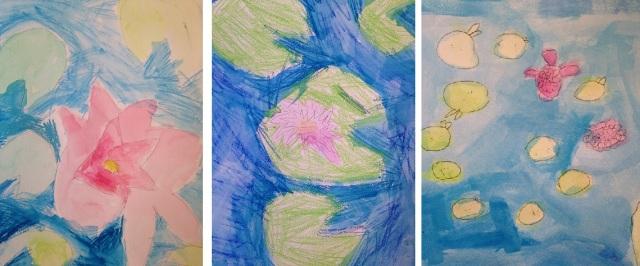 Nymphéas, par Chiara, Sara et Oscar (5 ans)