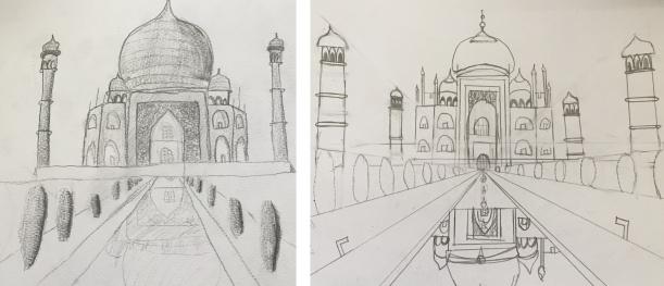 Exercice de perspective frontale avec des enfants: le Taj Mahal